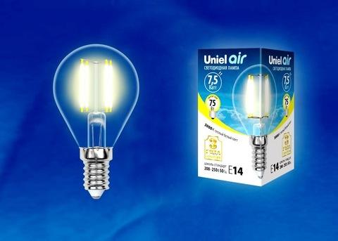 Uniel Лампа LED-G45-7,5W/WW/E14/CL Air (теплый свет)