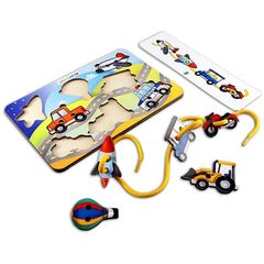 Развивающая игра шнуровка Транспорт (трактор, мотоцикл, самолет, ракета), Smile Decor П620