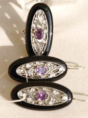 Брошь (кольцо + серьги из серебра)