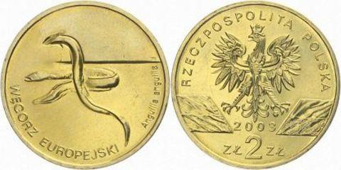 2 злотых Европейский угорь (животный мир) 2003 год, Польша. UNC