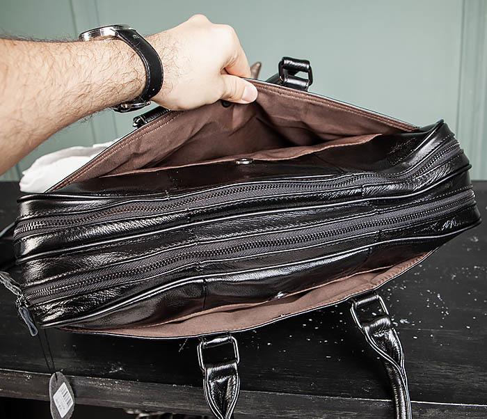 BAG491-1 Мужской кожаный деловой портфель черного цвета фото 09