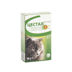 Цестал антигельминтик для кошек (вкус печени) 10 таб