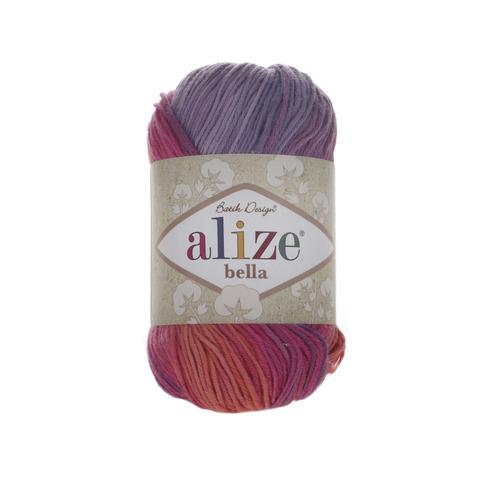 Пряжа Alize Bella Batik меланж роз-оранж-фиол 4595