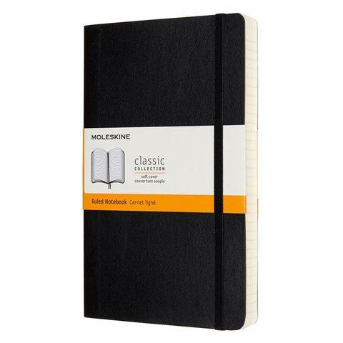 Блокнот Moleskine CLASSIC SOFT EXPENDED QP616EXP Large 130х210мм 400стр. линейка мягкая обложка черный