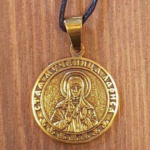 святая Лариса именная нательная икона из бронзы кулон с молитвой