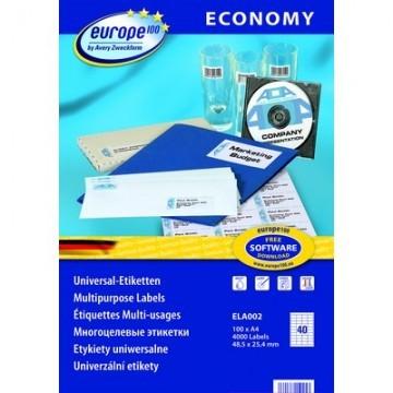 Этикетки самоклеящиеся Europe, ELA002, 48,5х25,4мм/40шт на листеА4 (100л/уп