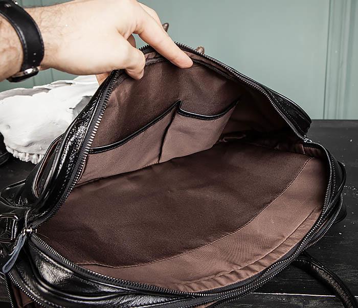 BAG491-1 Мужской кожаный деловой портфель черного цвета фото 11