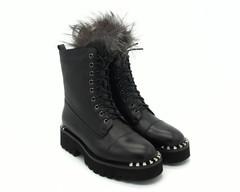 Черные зимние ботинки , декорированые чернобуркой