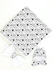 СуперМамкет. Конверт-одеяло с бантом и шапочкой Звездопад, черный/белый плюш вид 3
