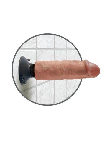 Вибромассажер-реалистик без мошонки на присоске загорелый King Cock 6 Vibrating Cock