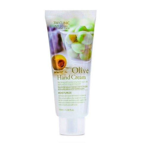 3W CLINIC Крем для рук увлажняющий с экстрактом ОЛИВЫ Olive Hand Cream, 100 мл