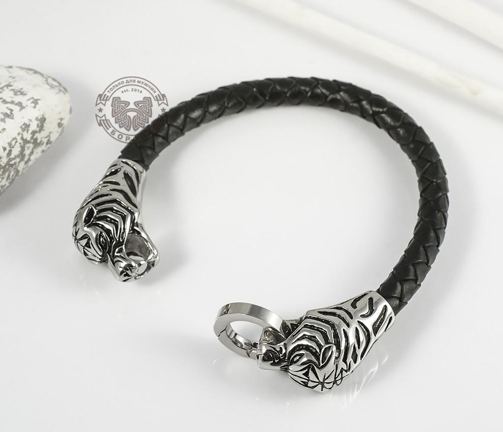 BM327 Необычный мужской браслет «Тигры» из стали и кожаного плетеного шнура (19 см) фото 02
