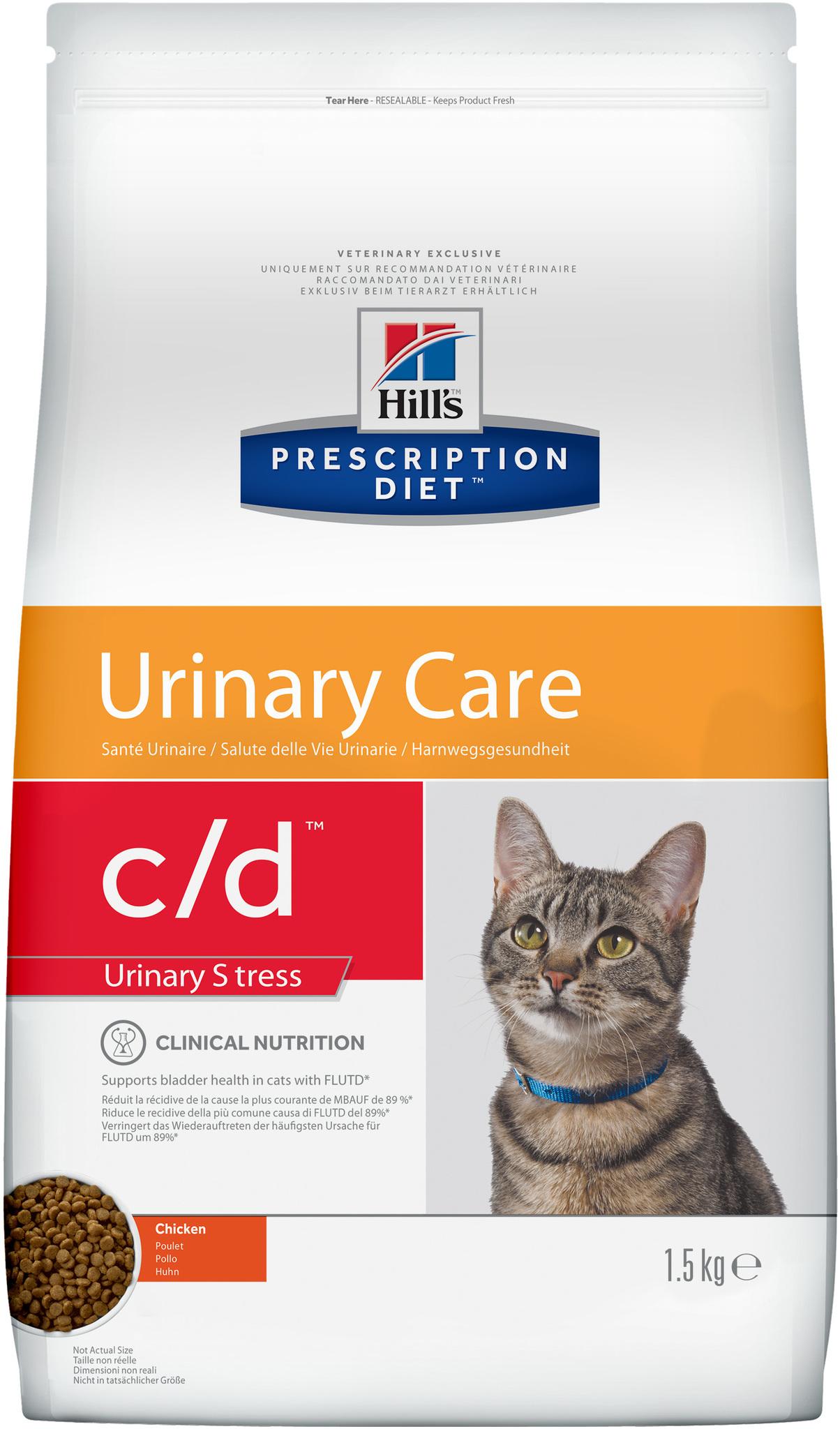 купить хиллс  диетический Hill's™ Prescription Diet™ c/d™ Feline Urinary Stress with Chicken сухой корм для взрослых кошек, диета при стрессах, цистите с курицей 1.5 кг