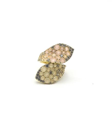 Кольцо GIARDINI из серебра с цирконами в лимонной позолоте