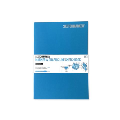 Скетчбук Sketchmarker Marker&Graphic Line 180 г/м², 17,6 х 25 см, 16 л., мягкая обложка, цвет бирюзовый