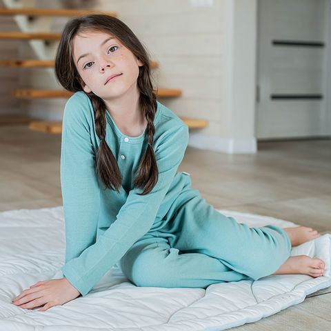 Ribbed pyjamas for teens - Sea Blue