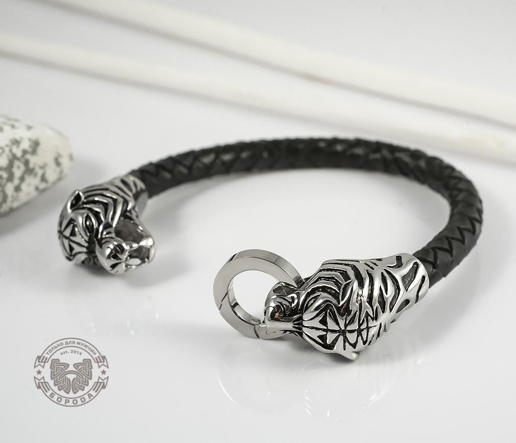 BM327 Необычный мужской браслет «Тигры» из стали и кожаного плетеного шнура (19 см) фото 03