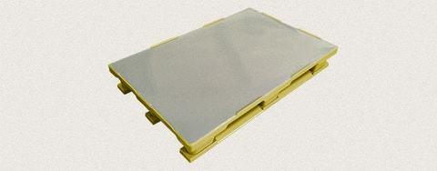 Поддон пластиковый сплошной 1200x800x160 мм с полозьями, усиленный металлическим профилем. Цвет: Желтый