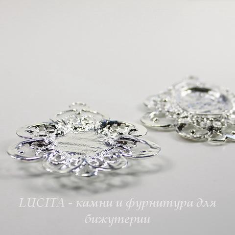 Сеттинг - основа - коннектор (1-1) для камеи или кабошона 23х17 мм (цвет - серебро)