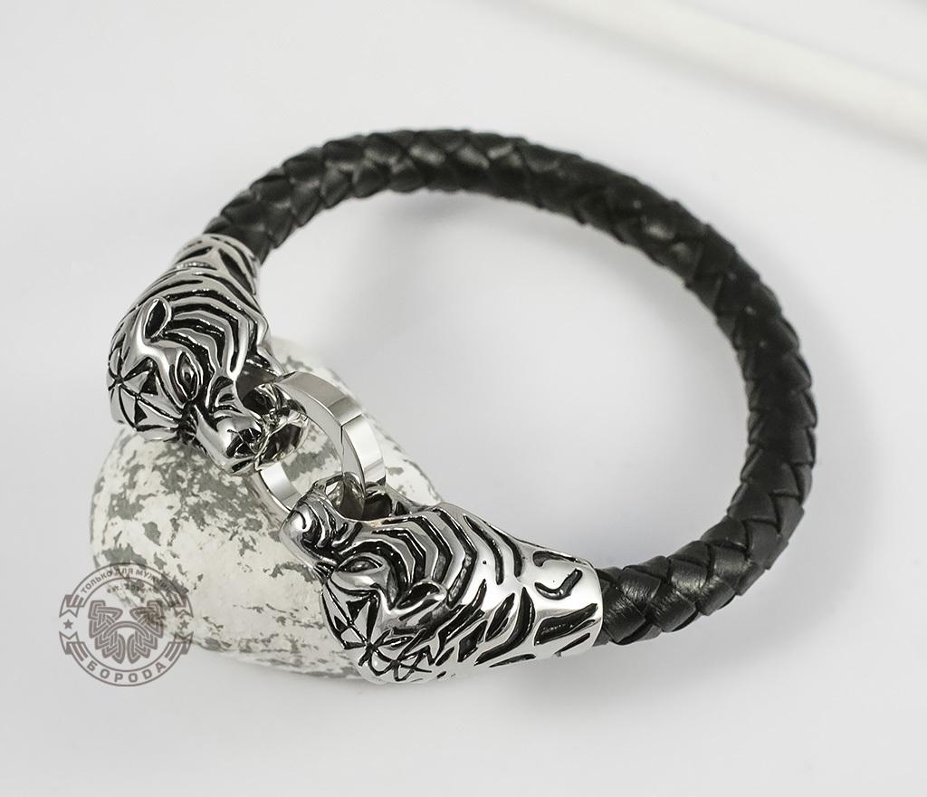 BM327 Необычный мужской браслет «Тигры» из стали и кожаного плетеного шнура (19 см) фото 04