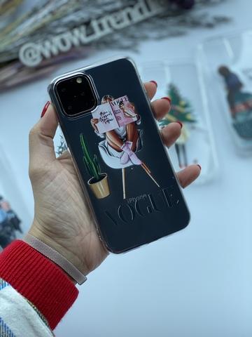 Чехол силиконовый прозрачный Iphone 11 pro max /vogue/