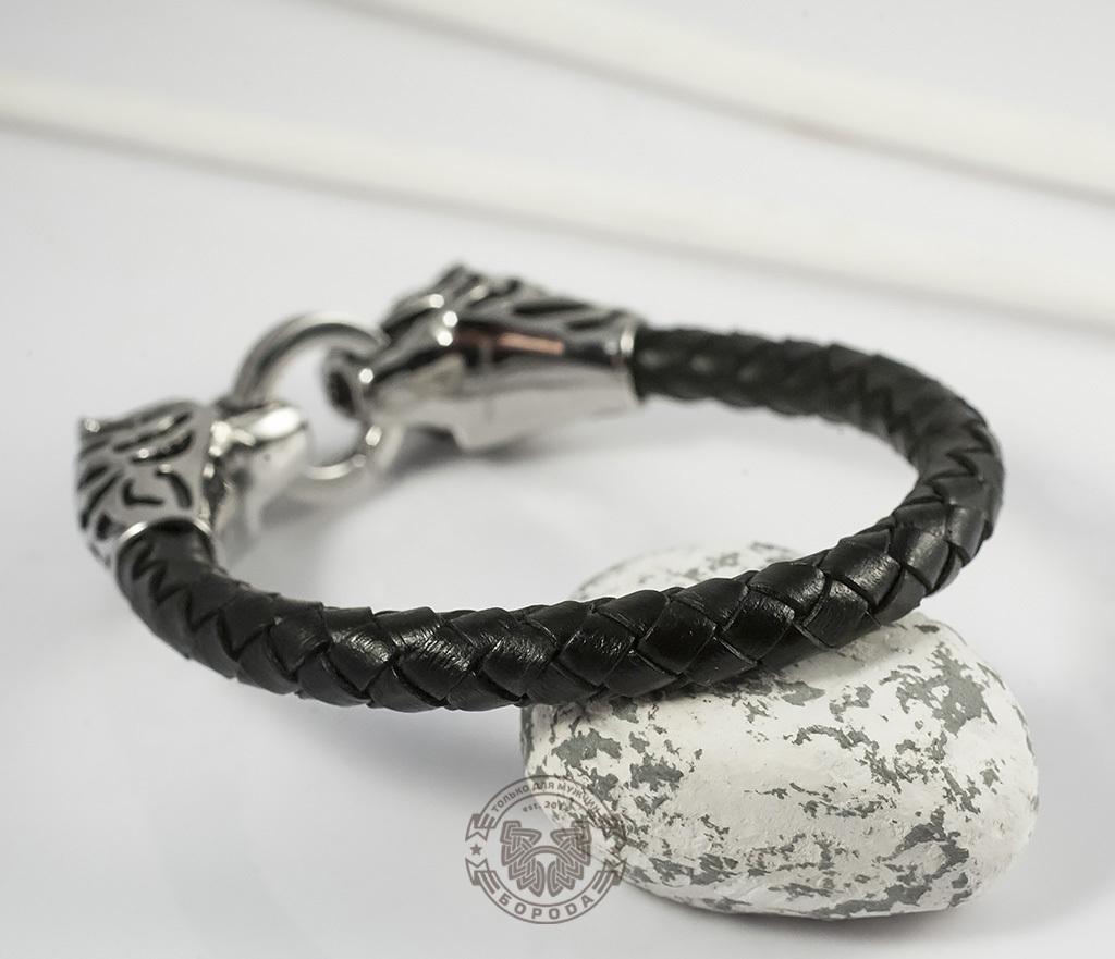 BM327 Необычный мужской браслет «Тигры» из стали и кожаного плетеного шнура (19 см) фото 05
