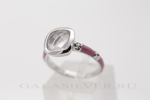 Кольцо с розовым кварцем, эмалью и цирконом из серебра 925