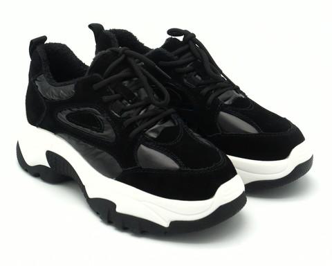 Черные кроссовки из натурального велюра