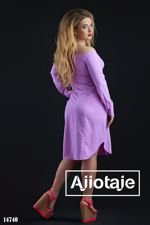 Платье рубашка фиалкового цвета