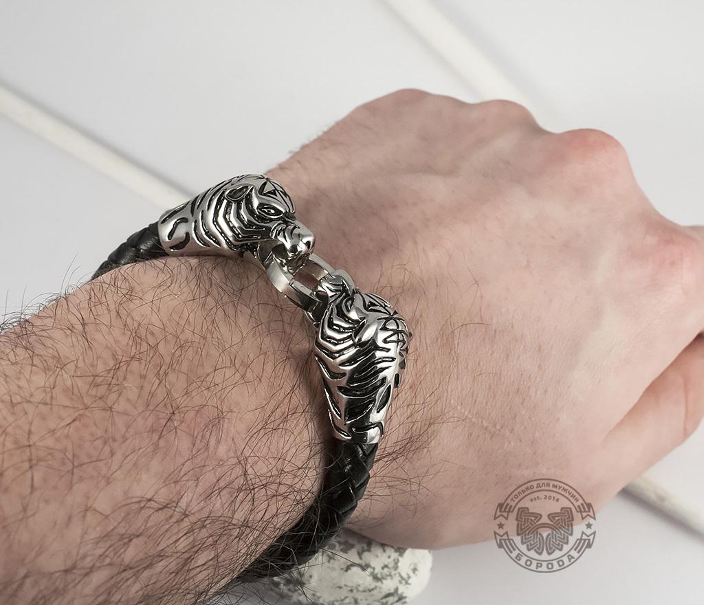 BM327 Необычный мужской браслет «Тигры» из стали и кожаного плетеного шнура (19 см) фото 06