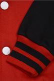 Бомбер красный с черным фото рукав