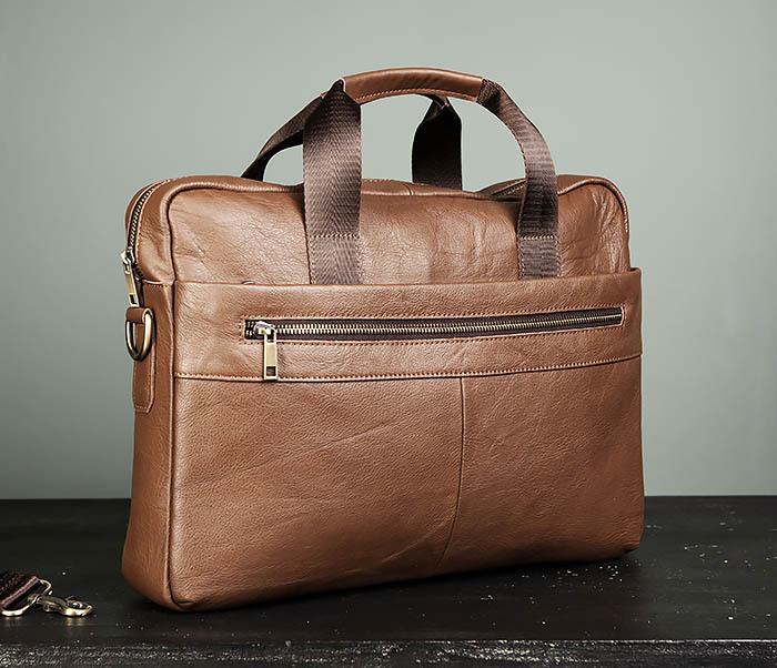 BAG428-2 Стильный мужской портфель из натуральной кожи с ремнем на плечо