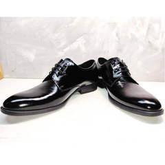 Классические кожаные туфли дерби мужские лаковые Ikoc 2118-6 Patent Black Leather.