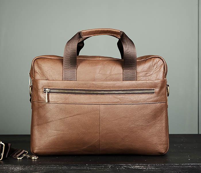 BAG428-2 Стильный мужской портфель из натуральной кожи с ремнем на плечо фото 02