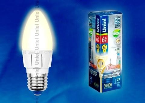 Uniel Лампа LED-C37-6W/WW/E27/FR Palazzo (свеча теплый свет)