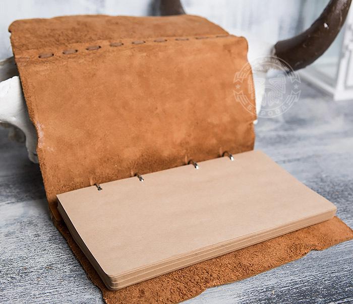 BY01-06-04 Кожаный подарочный блокнот «Добыча» с застежкой - клыком (А5) фото 10