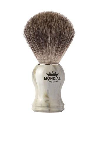 Помазок для бритья Mondial, пластик, свиной ворс, рукоять - цвет белый мрамор