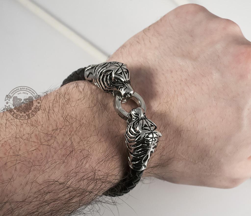 BM327 Необычный мужской браслет «Тигры» из стали и кожаного плетеного шнура (19 см) фото 07