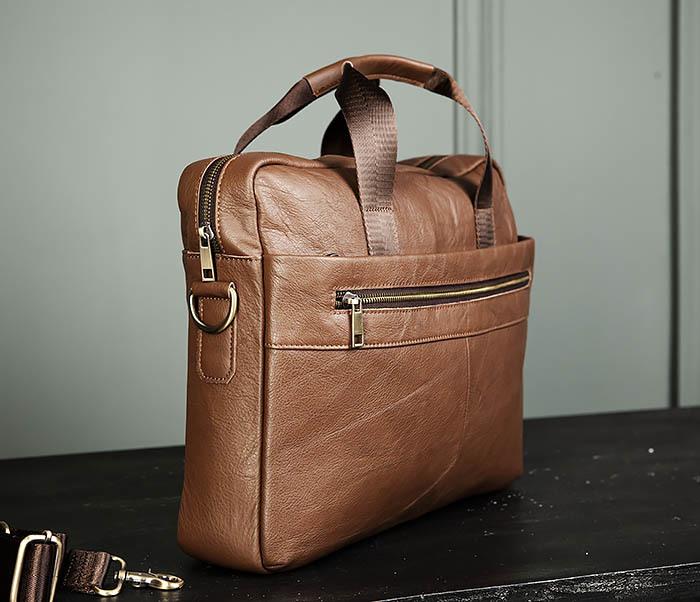 BAG428-2 Стильный мужской портфель из натуральной кожи с ремнем на плечо фото 03