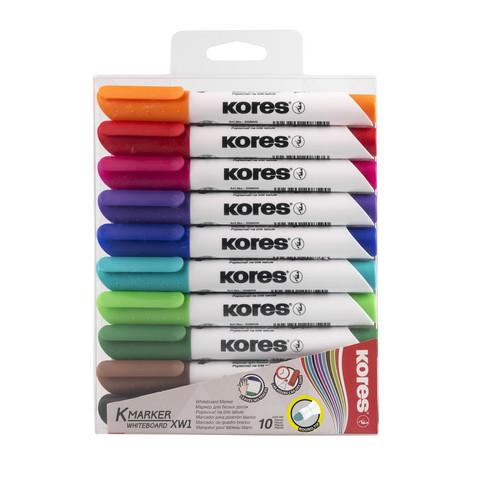 Набор маркеров для досок Kores 10 цветов (толщина линии 3 мм)
