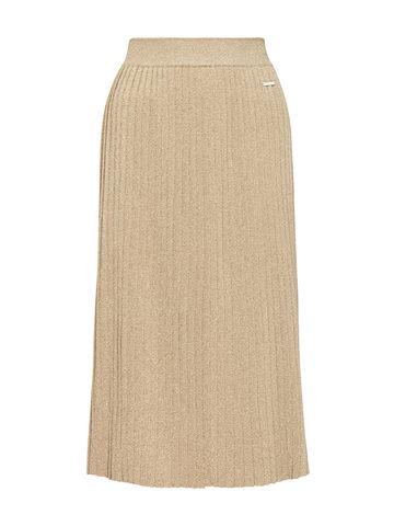 Женская юбка-плиссе золотого цвета из вискозы - фото 1