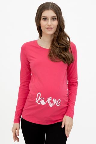 Лонгслив для беременных 10989 малиновый/принт Love