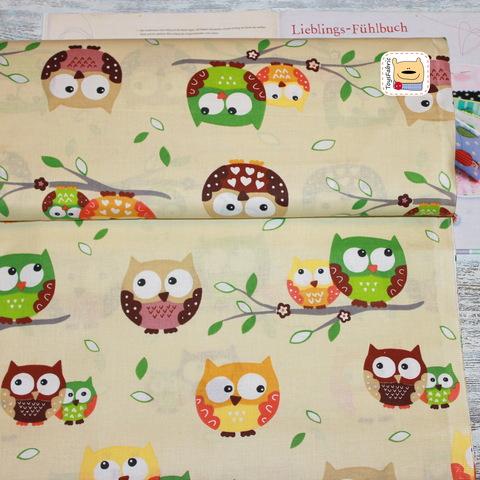Ткань хлопок Польша П07 Оранжевые совы на бежевом (80х50см)