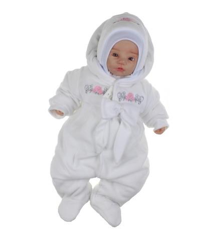 Велюровый утепленный комбинезон для новорожденных Цветочки белый