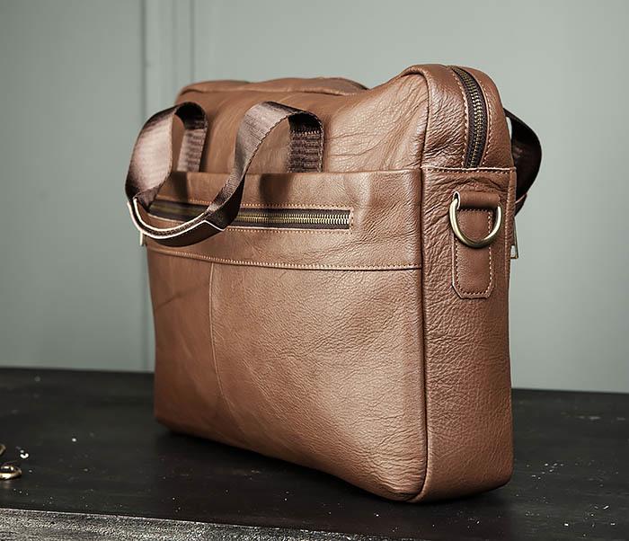 BAG428-2 Стильный мужской портфель из натуральной кожи с ремнем на плечо фото 04