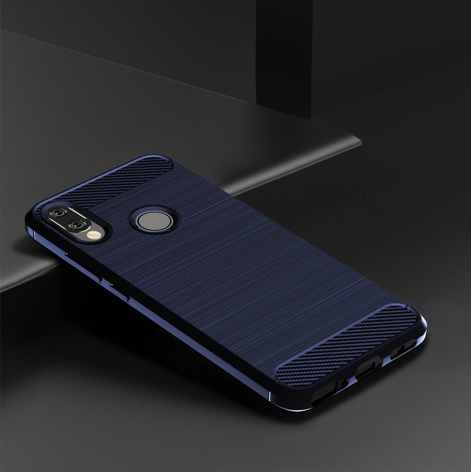 Чехол Xiaomi Redmi Note 7 (Note 7S, Note 7 Pro) цвет Blue (синий), серия Carbon, Caseport