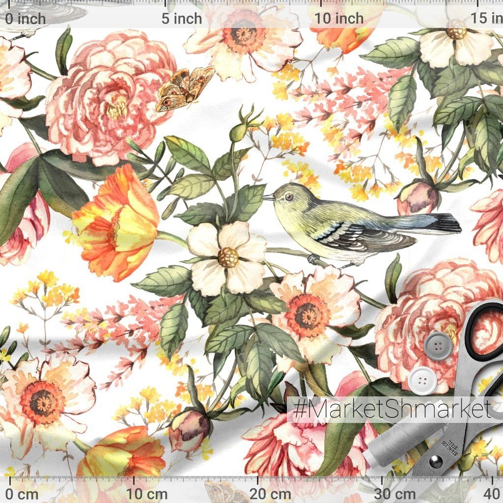 Винтажные цветы и птицы