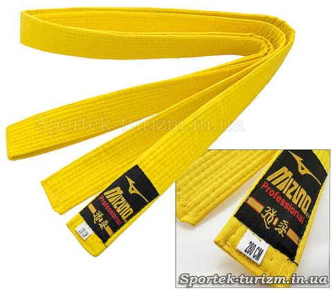 Жовтий пояс Mizuno 280 см для кімоно