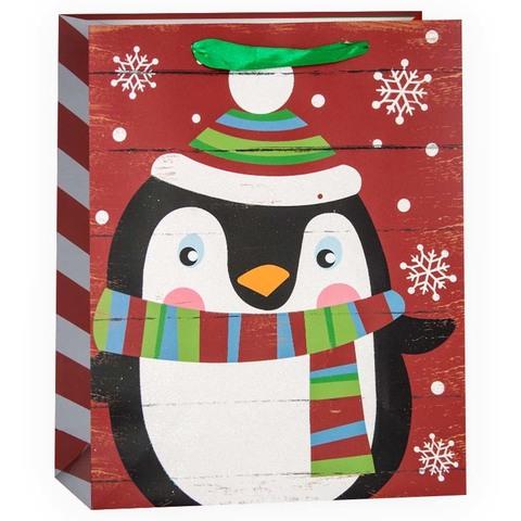 Пакет подарочный, Милый пингвин и снежинки, Красный, с блестками, 32*26*12 см
