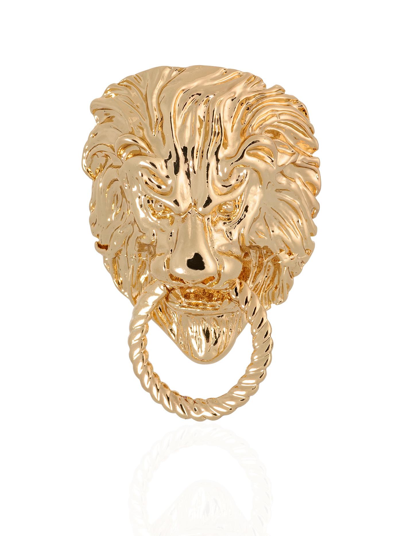 Дизайнеркая брошь Лев с кольцом